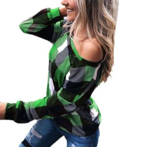 Off-the-shoulder Plaid Slim Long-sleeved Top (Color:Green Size:XXXL)