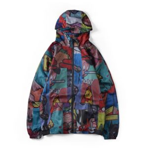 Autumn and Winter Loose Long-sleeved Anime Print Hooded Zipper Jacket, Size: L(As Show)