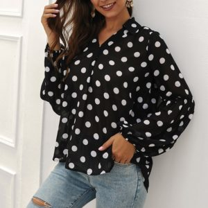 Women Dot Pattern Long Sleeve Shirt (Color:Black Size:S)