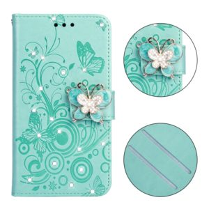 Diamond Encrusted Butterflies Love Flowers Pattern Horizontal Flip Leather Case for Galaxy J6+ & J6 Prime , with Holder & Card Slots & Wallet & Lanyard(Butterfly green)