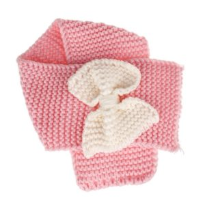 Autumn Winter Girls Warm Knitted Bowknot Scarves(Pink)