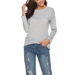 Round Neck Zip Long Sleeve T-Shirt (Color:Grey Size:XL)