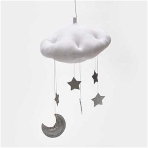 Baby Nursery Ceiling Mobile Party Decoration Clouds Moon Stars Hanging Decorations Kids Room Decoration for Baby Bedding(White Silver)