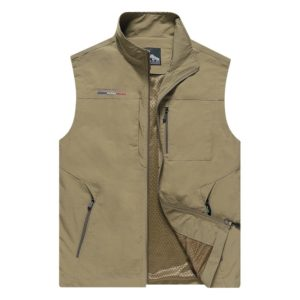 Men Sleeveless Stand Collar Loose Vest Multi-pockets Vest (Color:Khaki Size:L)