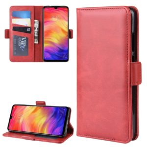 For Xiaomi Redmi Note 7/ Redmi Note 7 Pro Double Buckle Crazy Horse Business Mobile Phone Holster with Card Wallet Bracket Function(Red)