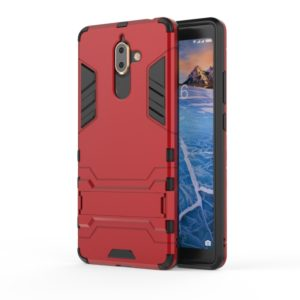 Shockproof PC + TPU Case for Nokia 7 Plus 2018, with Holder(Red)