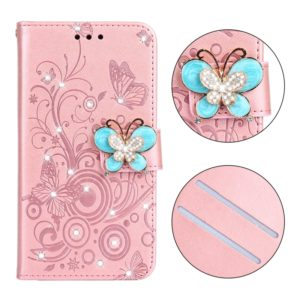Diamond Encrusted Butterflies Love Flowers Pattern Horizontal Flip Leather Case for Galaxy A6 Plus (2018) , with Holder & Card Slots & Wallet & Lanyard(Butterfly Rose Gold)