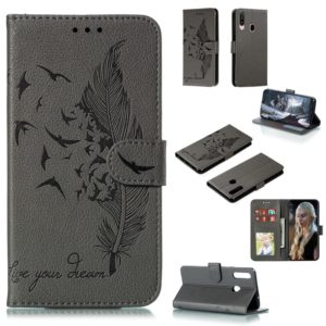 For Galaxy A20s Feather Pattern Litchi Texture Horizontal Flip Leather Case with Holder & Wallet & Card Slots(Gray)