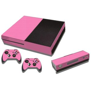 Carbon Fiber Texture Decal Stickers for Xbox One Game Console(Pink)