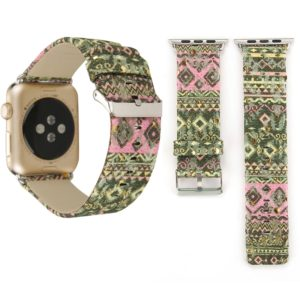For Apple Watch Series 3 & 2 & 1 42mm Ethnic Style Retro Canvas + Genuine Leather Wrist Watch Band