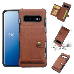 For Galaxy S10 Brushed Texture Shockproof PU + TPU Case, with Card Slots & Wallet & Photo Frame(Brown)