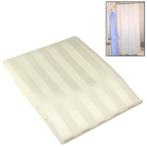 Polyester Vertical Stripe Shower Curtain with 8 Hooks(Beige)