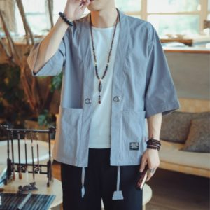 Men Cardigan Tops Three-quarter Sleeve Chinese Style Jacket, Size:M(Sky Blue)