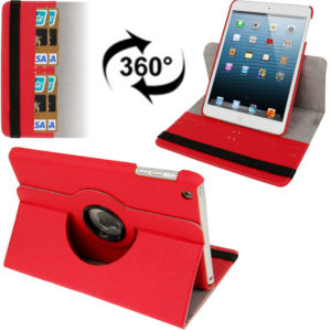 360 Degree Rotation Cross Texture Leather Case with Holder & Credit Card Slots for iPad mini 1 / 2 / 3 (Red)