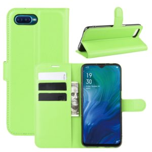 For Oppo Reno A Litchi Texture Horizontal Flip Leather Case with Wallet & Holder & Card Slots(Green)