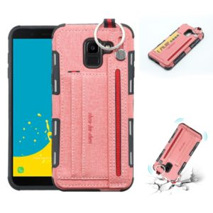 For Galaxy J6 (2018) Cloth Texture + TPU Shockproof Protective Case with Metal Ring & Holder & Card Slots & Hanging Strap(Pink)