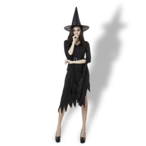 Black Irregular Long Skirt Exit Halloween Costume Cosplay Show Witchcraft Dress, M, Chest: 88cm, Waistline: 72cm, Skirt Length: 108cm