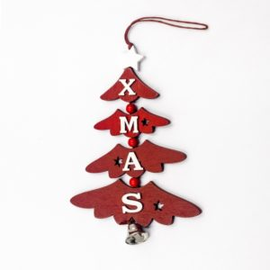 2 PCS Christmas Wooden Painted Decorative Pendant Creative Christmas Tree Letter Bell Pendant Decoration( Red )