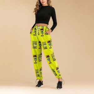 Fluorescent Color Printing Elastic Beam Port Slacks (Color:Green fluorescent Size:L)