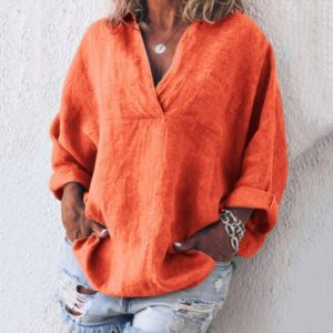Thick Cotton and Long Sleeve Shirt (Color:Orange Size:XXXL)