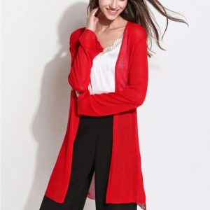 Spring Loose Long Knit Cardigan Thin Long-sleeved Sunscreen Clothing Air Conditioning Shirt, Size: One Size(Red )