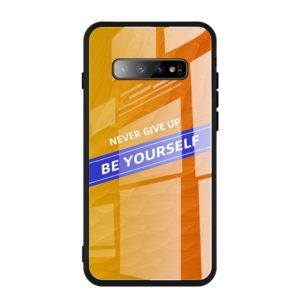 For Galaxy S10+ Shockproof PC + TPU + Glass Protective Case(Yellow)