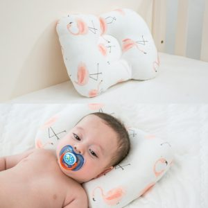 Muslinlife Baby Pillow Newborn Head Protection Cushion Baby Bedding Infant Nursing Pillow Toddler Sleep Positioner Anti Roll(Flamingo)