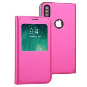 For iPhone X / XS Litchi Texture Horizontal Flip Leather Case with Call Display ID(Magenta)
