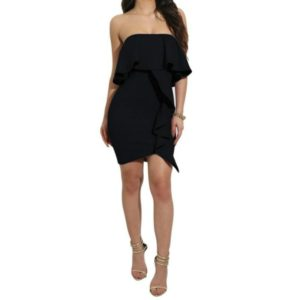 Women s Wrapped Chest Ruffle Sexy Dress, Size:XL(Black)