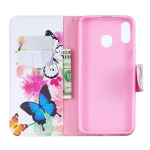 Colored Drawing Pattern Horizontal Flip Leather Case for Samsung Galaxy M20,with Holder & Card Slots & Wallet(Two Butterflies)