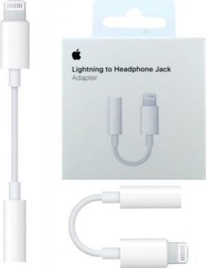 Apple Lightning Male Adapter To Headphone Jack 3.5 Female Cable 0.1m White Original MMX62ZM/A Retail