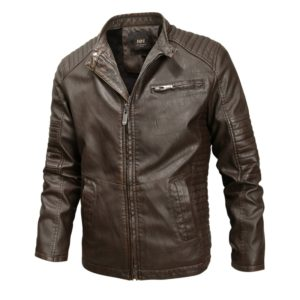 Fashionable Men Leather Jacket (Color:Coffee Size:L)