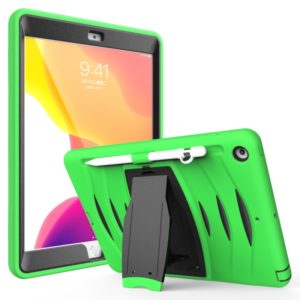 For iPad 10.5 2019 360 Degree Rotation PC + Silicone Protective Case with Holder & Hand-strap(Light Green)