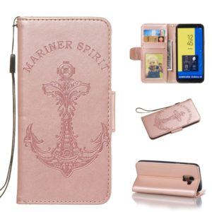Pressed Printing Mermaid Anchor Pattern Horizontal Flip PU Leather Case for Galaxy J6 (2018) EU Version, with Holder & Card Slots & Wallet & Photo Frame (Rose Gold)