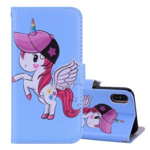 Unicorn Pattern Horizontal Flip Leather Case for iPhone XS / X, with Holder & Mirror & Card Slot & Wallet & Lanyard(Blue)