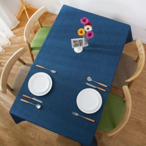 Modern Concise Waterproof Flax Rectangle Home Hotel Table Cloth, Size: 60*60cm(Navy Blue)