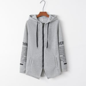 Graffiti Letter Printed Large Size Sweater Zipper Hooded Jacket (Color:Grey Size:L)