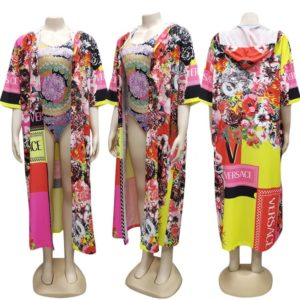 2 PCS Fashionable African Clothing Cross-border Women s Outerwear Cape, Siz:S(As Show)