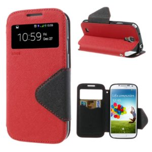 ROAR Θήκη Samsung Galaxy S4 Roar Diary View Window Leather Stand Case w/ Card Slot for Samsung Galaxy S4-Red
