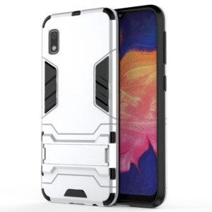 Shockproof PC + TPU Case for Galaxy A10e, with Holder (Silver)