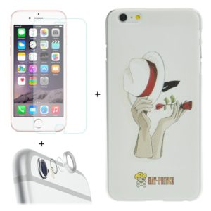 ENKAY Hat-Prince 3 in 1 Creative Character Pattern White Hard Case + 0.26mm 9H+ Surface Hardness 2.5D Explosion-proof Tempered Glass Film + Metal Rear Camera Lens Protective Ring for iPhone 6 & 6s (ENKAY)