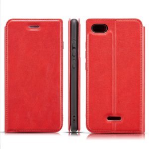 Retro Simple Ultra-thin Magnetic Horizontal Flip Leather Case for Xiaomi Redmi 6A, with Holder & Card Slots & Lanyard (Red)