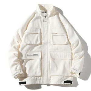 Trend Multi-pockets Top Loose Coat Simple Casual Jacket for Men (Color:White Size:M)