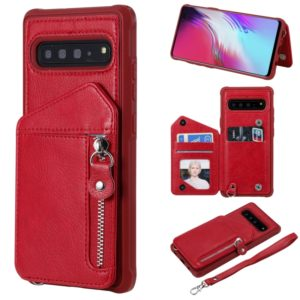 For Galaxy S10 5G Dual Buckles Zipper Shockproof Back Cover Protective Case with Holder & Card Slots & Wallet & Lanyard & Photos Frames(Red)