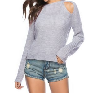 Women Sexy Leaky Shoulder Round Neck Sweater, Size: L(Light Purple)