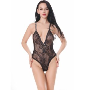 Women Sexy Hot Enticement Deep V Lace Dress Transparent Conjoined Underwear(Black) (FunAdd)