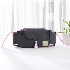 Baby Stroller Accessories Bag Bottle Bag Stroller Organizer Baby Carriage Cup Bag(Pink Tassel)