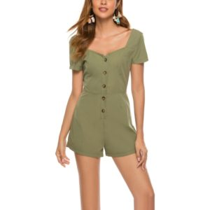 Single-breasted Jumpsuit (Color:Army Green Size:L)