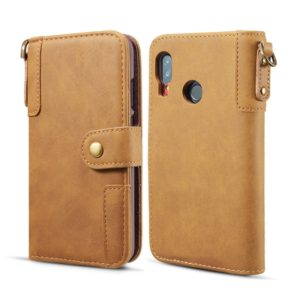 For Galaxy A40 Cowhide Texture Horizontal Flip Leather Case, with Holder & Card Slots & Wallet & Lanyard(Brown)
