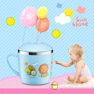225ml Stainless Steel Thermal Insulated Cartoon Style Mug With Cap And Handle For Child(Blue)